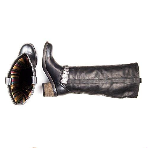 Felmini - Zapatos para Mujer - Enamorarse con Babel 8506 - Botas Altas Clasicas - Cuero Genuine - Negro - EU:
