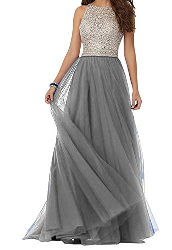 Party Evening BessDress Tulle Gowns Grey BD232 Dresses Open Back Bodice Prom Beaded Long 4wFHa