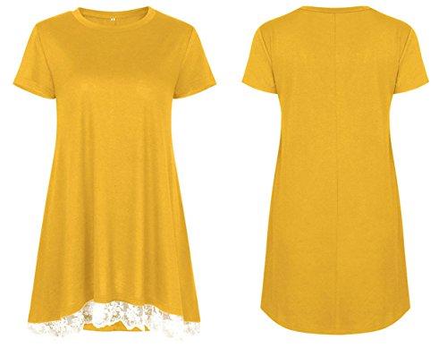 Spitzen Kurzarmshirts Sommer Oberteile Gelb Lang Mode Rundhals T-shirt Tuniken Casual Tops Splice Damen Bequeme Blouse