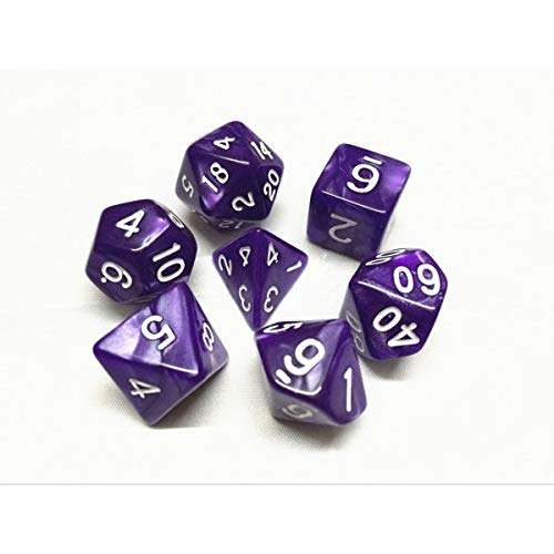 Purple Pearl Dice HD Dice D/&D Polyhedral 7 Dice Set