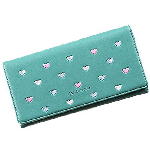 Women Bowknot Long Purse Button Wallet Clutch Hand Bag (Green) - 9