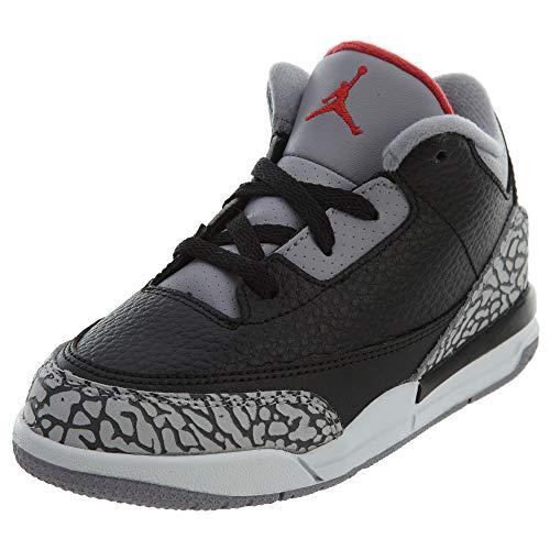 Jordan Retro 3 OG Black/Cement Black/Fire Red-Cement Grey (Toddler) (10 M US - Fire Cement Red