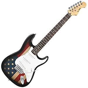 leo jaymz st model electric guitar with stickers us flag musical instruments. Black Bedroom Furniture Sets. Home Design Ideas