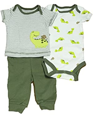 Carters Infant Boys 3 Piece Striped Dinosaur Monkey T-Shirt Pants & Creeper Set