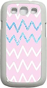 Pink and Blue Glitter Chevrons- Case for the Samsung Galaxy S3 i9300 -Soft White Rubber Case with a Swinging Open-Close Flap that Covers the screen
