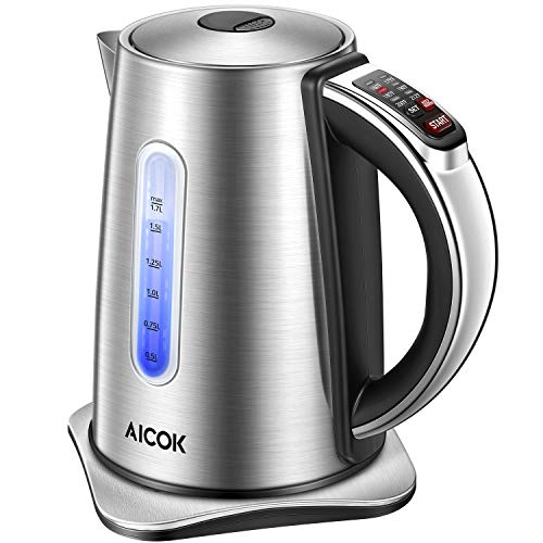 Electric Kettle 2nd Gen Variable Temperature Kettle, Food Grade 304 Stainless Steel Kettle, 1500W Ultra Fast Water Boiler, 100% BPA Free, 2 Hour Stay Warm Function and LED Indicator Light, 1.7L, Aicok ()