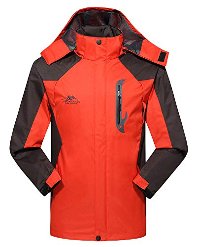 with amp; Mens Sleeve Red Waterproof Women Pockets Hood Womens Long Jacket Orange AnyuA Unisex Softshell wBq4AApZ