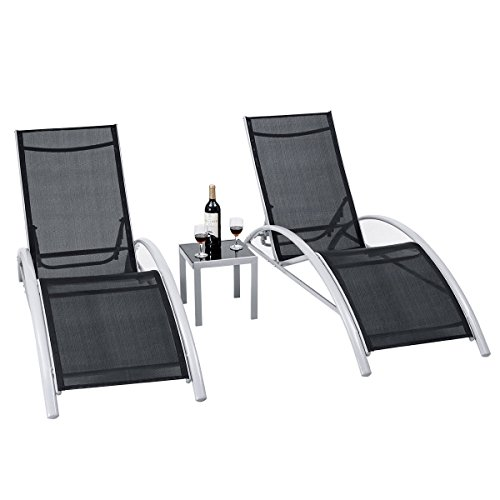 KCHEX>3 PCS Outdoor Patio Pool Lounger Set Reclining Garden Chairs Glass Table>Update your patio or deck with this 3 pieces elegant lounge chairs table set. This set includes 2 lounge -