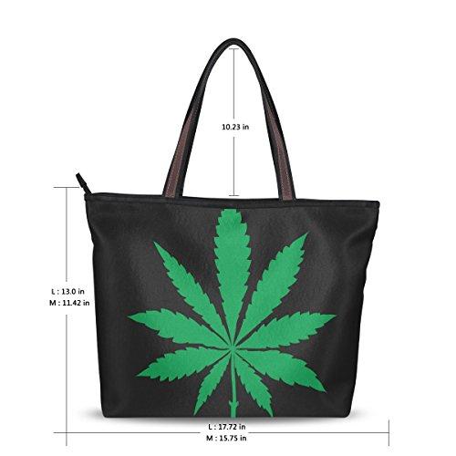 Alaza Marijuana À De Fourre tout Main Cannabis D'épaule Feuille Grand Sac wwadnxr7