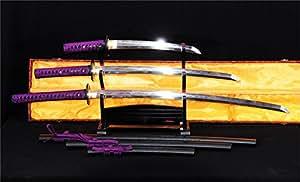 Dashio Japanese Sword Set Katana+Wakizashi+Tanto Honsanmai Clay Tempered--Ryan782