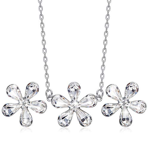 Daisy Jewelry Set Crystals from Swarovski Flower Pendant Necklace and Earrings for Girls ()