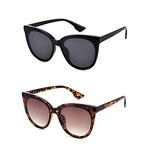 Mosanana Classic Round Cateye Sunglasses for Women 2019 Trendy Style 2 Pack Black Tortoise Oversized Retro Vintage Cat Eye Fashion Chic Sunnies Shade Ladies Cute Cool Unique Sun Glasses Large ()