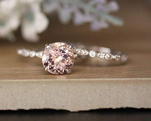9mm Round Cut Natural Pink Morganite Engagement Ring Set Diamond Milgrain Wedding Band Solid 14k Rose Gold Women Bridal Set Promise Anniversary Gift for Her