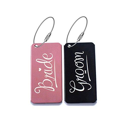 Elegant Bride Groom Metal Luggage Tags for Weddings & Bridal Showers Gifts