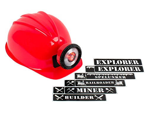 Light-up Hard Hat Including Miner, Railroader, Builder and Spelunker Helmet Labels (Red)