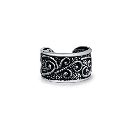 Bali Style Swirl Vine Ear Cuff Earring Helix 1 Piece Non Pierced Cartilage Black Oxidized 925 Sterling - Oxidized Ear Cuffs