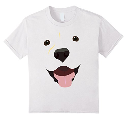 [Kids Labrador Face Shirt | Funny Cute Lab Dog Costume T-Shirt 4 White] (Black And White Puppy Toddler Child Costumes)
