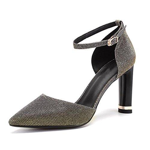 MUMA Zapatos de tacón Sandalias Femeninas Verano Hueco Acentuado High Heels Simple Wild Word Hebilla Hebilla Baotou Zapatos Heel Azul (Color : Azul, Tamaño : EU37/UK4.5-5/CN37) Oro