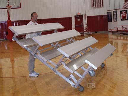 Gared 15' Tip N' Roll Bleachers with Double Foot Planks (4 Row)