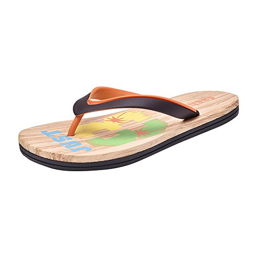 Classic Sunny amp;Baby red Flops Black Sandals Beach Men's Brown Durable Color 9 Size Flip Thong orange 5MUS Slipper trrdqwg