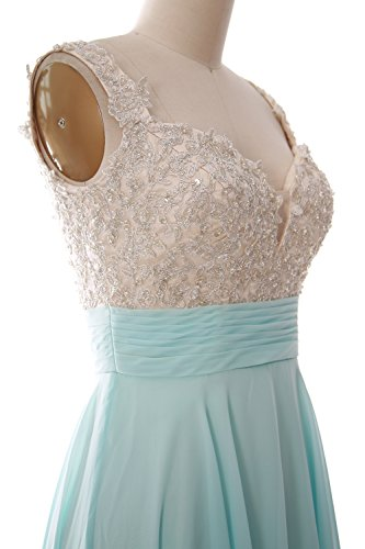 Dress Grau Gown Prom Formal Lace Straps Women Short Wedding MACloth Chiffon Party qPwI6OBv