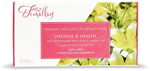 Femallay Natural Tea Tree Suppositories + Organic Coconut Oil for Vaginal Odors, Itching, Burning, PH Imbalances, and Other Irritations, More Soothing than Boric Acid, 7 Count + 1 Applicator