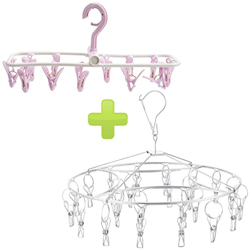 Stainless Steel Hanging Drying Rack with 24 Wire Clothespins
