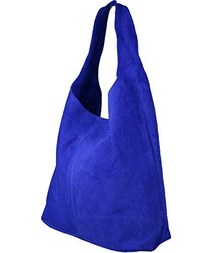Freyday Damen Ledertasche Shopper Wildleder Handtasche Schultertasche Beuteltasche Metallic look Royalblau 4IDNfYXnUs