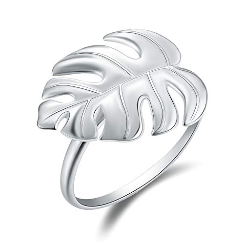 Lotus Fun S925 Sterling Silver Rings Monstera Leaves Open Ring Handmade Jewelry Unique Gifts for Women and Girls (Silver)]()