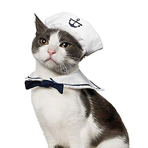 Cat Dog Sailor Costume - Cat Costume Navy Hat Cats Dogs Halloween Costume Set -