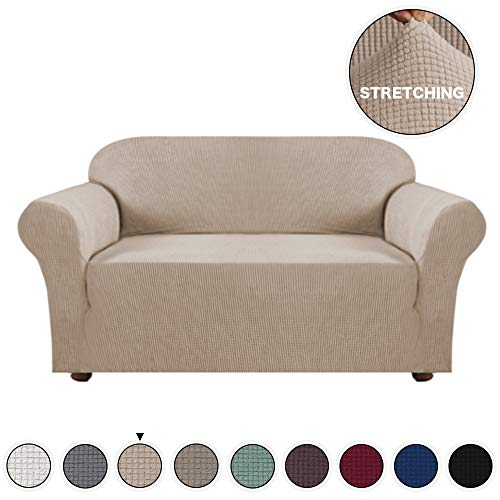 - Turquoize Loveseat Slipcover 1-Piece Spandex Sofa Cover Stretch Furniture Slip Covers for Sofa and Loveseat Form Fit Sofa Cover Machine Washable Loveseat Covers for Living Room, 2 Seater, Khaki