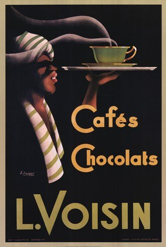 "L. Voisin Cafes and Chocolats, 1935 by J. Saunier 36""x24"" Ar"