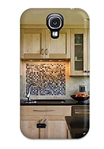 New Arrival Mosaic Glass Tile Backsplash Set In Contrast To Maple Cabinets For Galaxy S4 Case Cover