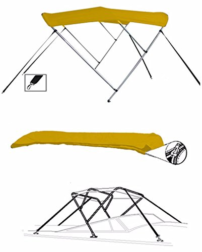 7oz Yellow 3 Bow Round Tube Boat Bimini TOP Sunshade for CRESTLINER 1650 Fish Hawk SC O/B W/TM 2016-2018