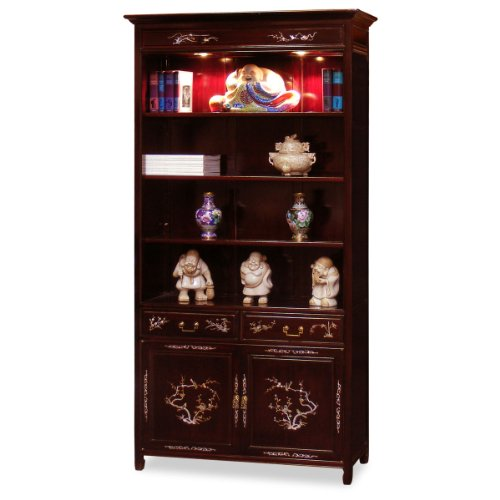 ChinaFurnitureOnline Rosewood Bookcase, Hand Crafted Flower Motif Mother Pearl Inlay Display Cabinet in Dark Cherry Finish