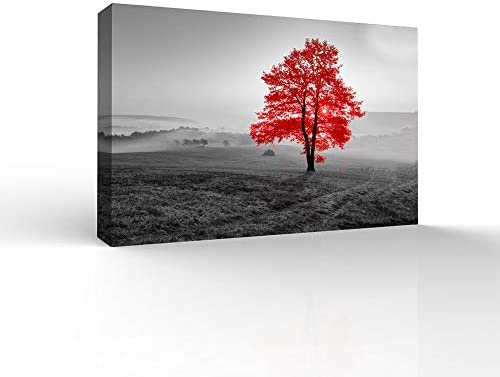 RED and Black Back Ground Tree Theme Painting Wall Bedroom Living House