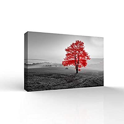 Classic Design, Astonishing Handicraft, RED and Black Back Ground Tree Theme Painting Wall Bedroom Living House