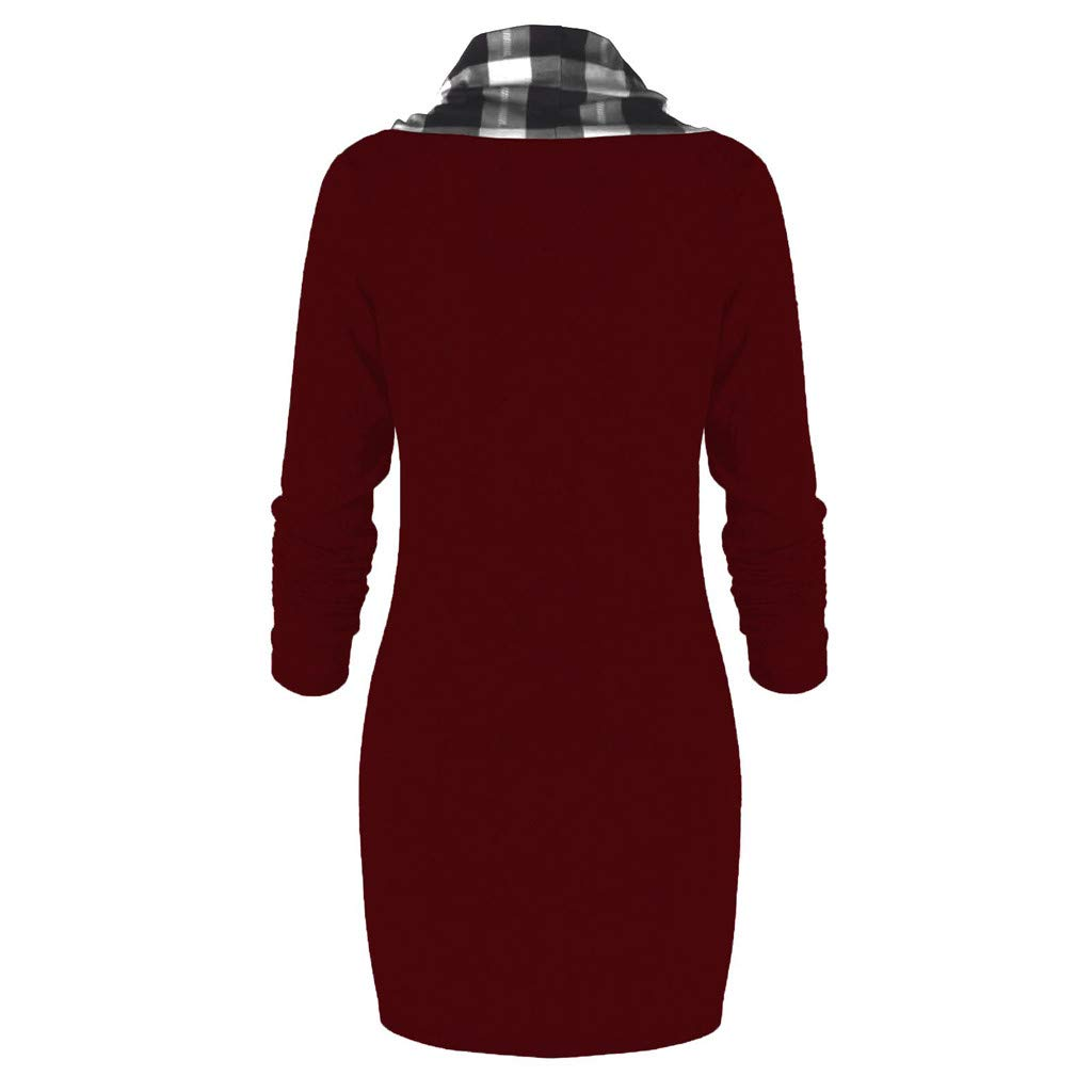 Redvive Top Women Bow-Neck Drawstring Plaid Patchwork Buttons Vintage Long Sweatshirt Top