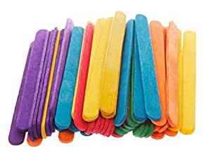 NICE Smile Colored Wooden Popsicle Kids Make Ice Cream Hand Crafts Art Lolly Cake, 50Pcs