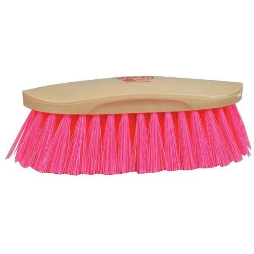 Decker Manufacturing Grip Fit Grooming Horse Brush Hot Pink Synthetic Bristles