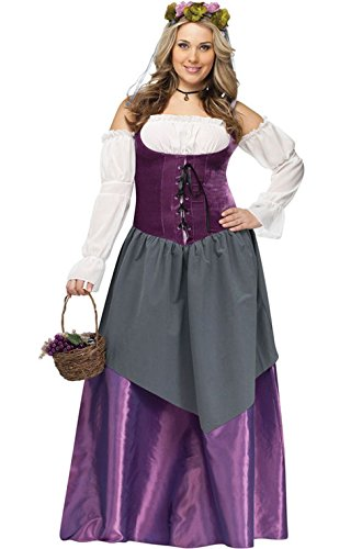Mememall Fashion Renaissance Tavern Wench Plus Size Women Adult Costume (Plus Size Renaissance Wench Costume)