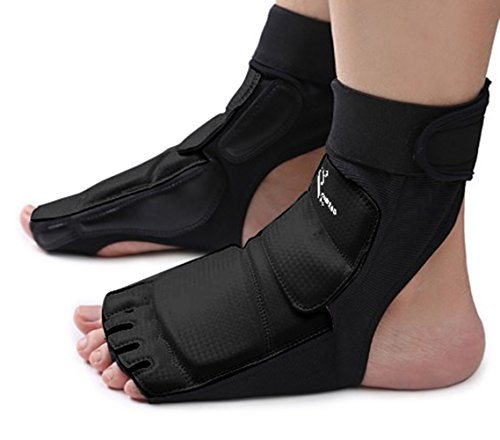 Wonzone Taekwondo Training Boxing Foot Gear Martial Arts Protector Sparring Gear Muay Thai Kung Fu Tae Kwon Do Feet Protector TKD Foot Gear Support for Men Women Kids Black (Medium)
