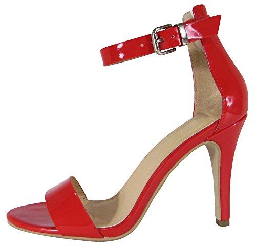 Cambridge Selezionare Donna Open Toe Single Band Fibbia Alla Caviglia Strappy Stiletto Tacco Alto Sandalo Rosso Vernice