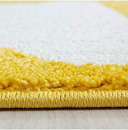 Carpettex Teppich Tapis pour Chambre denfants /à Carreaux Nuage Etoiles Gris Jaune Blanc 120x120 cm Environ