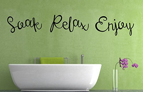 Soak Relax Enjoy Quote, Vinyl Wall Art Sticker, Mural, Decal. Home, Wall Decor. Bathroom