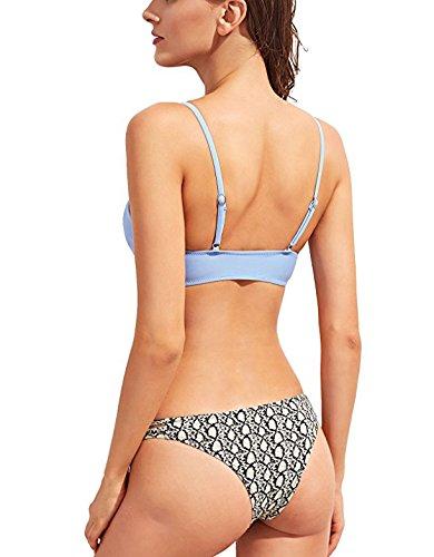 Summer Mae Mujer Bikini Triángulo Push Up Traje de Baño de Ganchillo Azul