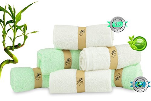 Baby Bamboo Washcloths - Luxury Soft – Perfect for Baby Sensitive skin – Super Absorbent – Organic Natural Wipes - Perfect baby shower / Registry gift – (3 Green, 3 White) - By Turtle Panter