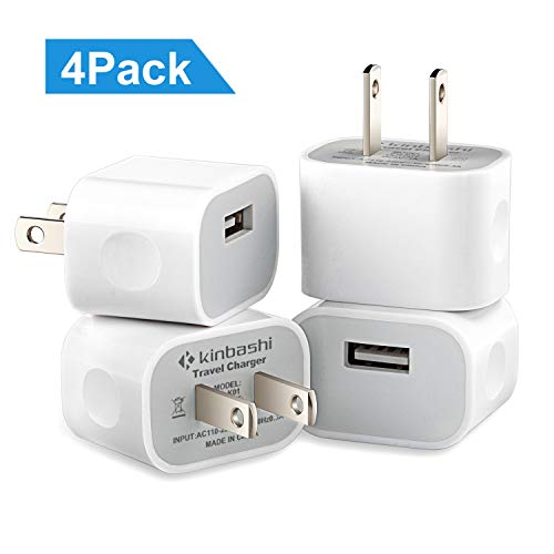 Kinbashi USB Wall Charger 4 Packs, Charging Adapter for Cellphone, Android Phone,Music Player (White)