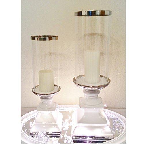 DRULINE Keramik Kerzenleuchter Kerzenständer Silber Weiß Windlicht Kerzenhalter Ständer (Windlicht Eckig Weiß Groß)