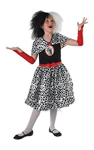 Girls Cruella De Ville Fancy Dress Costume -
